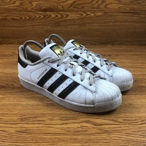 Adidas Superstar White Leather Athletic Shoes